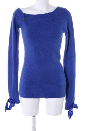 Fornarina Pull long bleu tissu mixte
