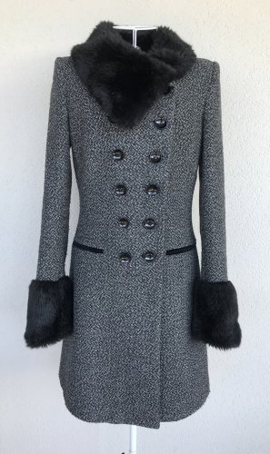 Fornarina Wool Coat black-grey polyester
