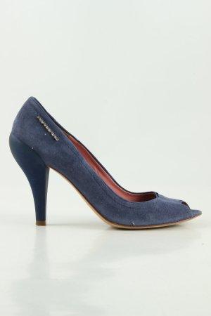 Fornarina Peeptoe Pumps blau Motivdruck Business-Look