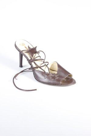Fornarina Riemchen-Sandaletten braun Blumenmuster Lederelemente
