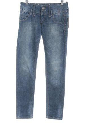 Fornarina Slim Jeans blau-blassblau Logo-Applikation aus Leder