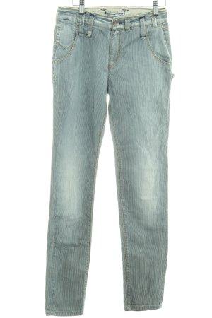Fornarina Slim Jeans blau-weiß Streifenmuster schlichter Stil