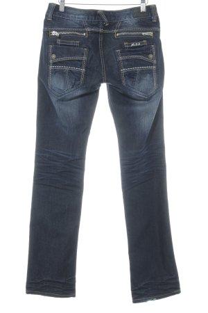 Fornarina Slim Jeans dunkelblau-hellorange Casual-Look