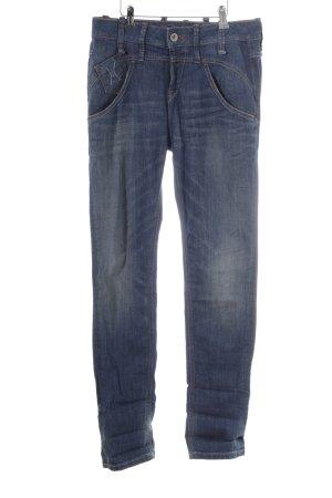 Fornarina Slim Jeans stahlblau Used-Optik