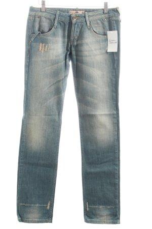 Fornarina Straight-Leg Jeans graublau-sandbraun Street-Fashion-Look