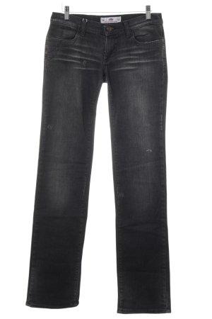 Fornarina Straight-Leg Jeans schwarz-dunkelgrau Used-Optik