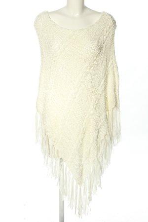 Fornarina Poncho en tricot blanc cassé torsades style décontracté