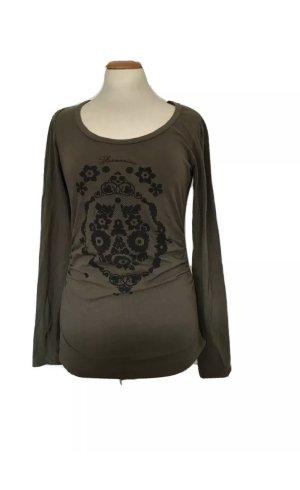 Fornarina, T-Shirt, Langarm, Olivgrün, grün, Khaki, Größe M