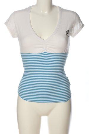 Fornarina V-Ausschnitt-Shirt weiß-blau Streifenmuster Casual-Look
