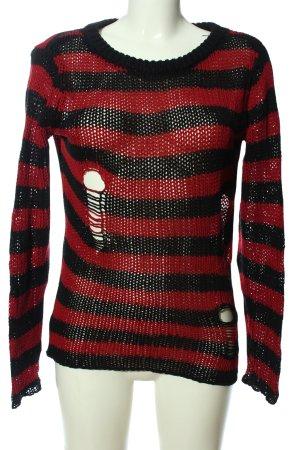 forplay Rundhalspullover rot-schwarz Streifenmuster Casual-Look