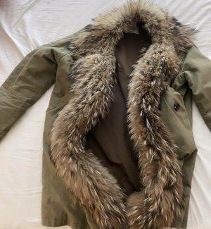 Forte Couture Futrzany płaszcz zielono-szary
