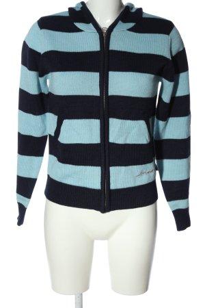 Forvert Giacca con cappuccio turchese-blu motivo a righe stile casual