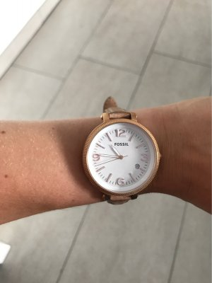Fossil Watch With Leather Strap beige-rose-gold-coloured