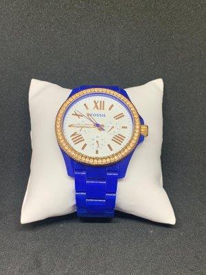 Fossil Horloge met metalen riempje blauw