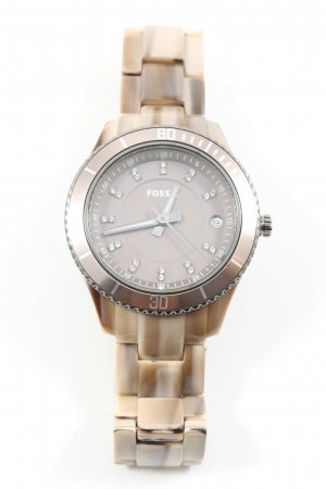 Fossil Analoguhr silberfarben-creme Casual-Look