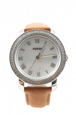 Fossil Analoguhr silberfarben-nude Casual-Look