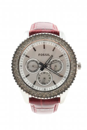 Fossil Analoguhr silberfarben-rot Allover-Druck Casual-Look