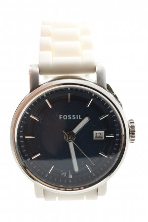 Fossil Analoguhr silberfarben-wollweiß Casual-Look