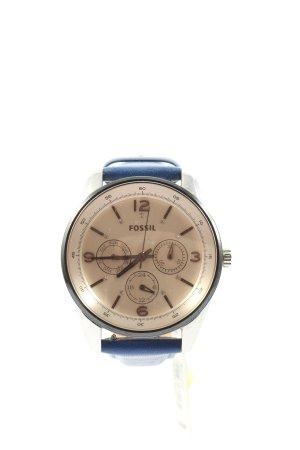 Fossil Analoog horloge blauw-zilver casual uitstraling