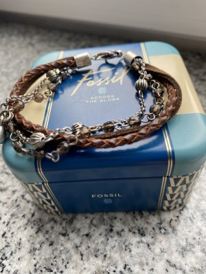 Fossil Armband bruin-zilver