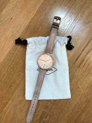 Fossil Watch With Leather Strap rose-gold-coloured-nude leather