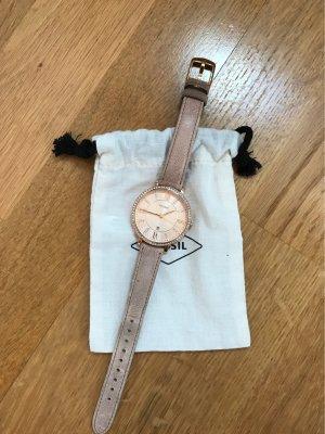 Fossil Horloge met lederen riempje roségoud-nude Leer