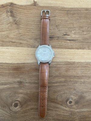 Fossil Horloge met lederen riempje bruin-zilver