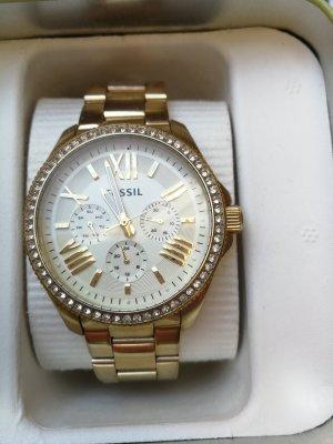 Fossil Armbanduhr Damenuhr gold Glitzersteine