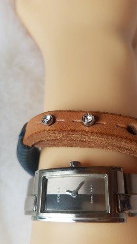 Fossil Armbanduhr + Fossil Armbandleder