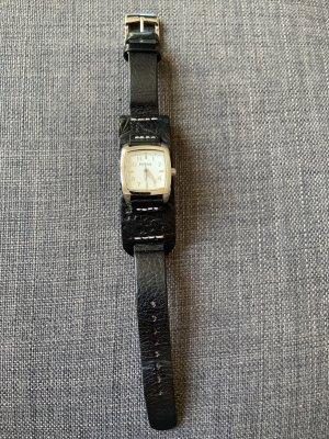 Fossil Horloge met lederen riempje zwart