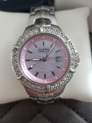 Fossil Reloj con pulsera metálica rosa claro-gris claro
