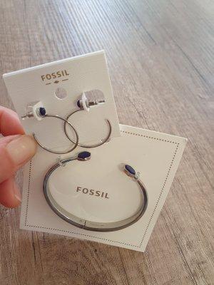 Fossil Armreif Ohrringe Set neu silber blau schmuckset creolen durchzieher Armreif