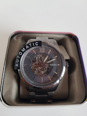 Fossil Reloj con pulsera metálica gris pizarra-azul acero