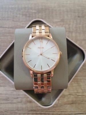 Fossil Horloge met metalen riempje wit-roségoud