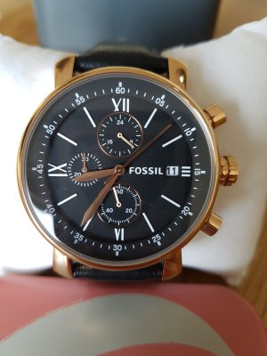 Fossil Watch With Leather Strap black-rose-gold-coloured