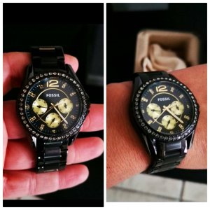 Fossil Damen Uhr Armbanduhr Gold schwarz Strass ES3205 neu B Ware