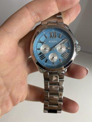 Fossil Zegarek z metalowym paskiem jasnoszary-niebieski neonowy