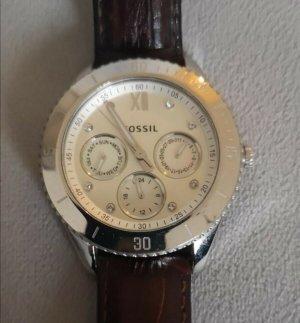 Fossil Damen Uhr silber mit braunem Lederarmband