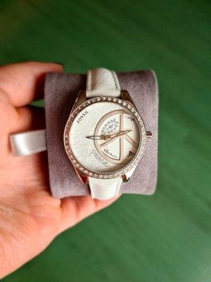 Fossil Montre avec bracelet en cuir blanc-argenté