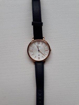 Fossil Horloge met lederen riempje donkerblauw