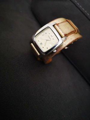 Fossil Horloge met lederen riempje goud
