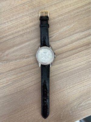 Fossil Montre avec bracelet en cuir noir-argenté