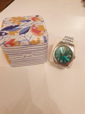Fossil Analoog horloge zilver-turkoois