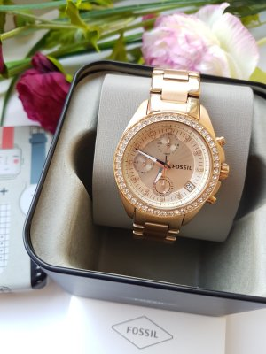 Fossil Watch With Metal Strap rose-gold-coloured-gold-colored stainless steel