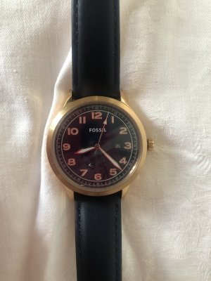 Fossil Watch With Leather Strap dark blue-gold-colored