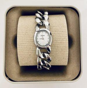 Fossil Zegarek z metalowym paskiem srebrny-biały Tkanina z mieszanych włókien
