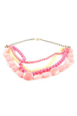 Fossil Halskette pink-blassgelb Glanz-Optik