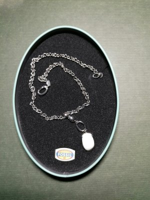 Fossil Necklace white-silver-colored