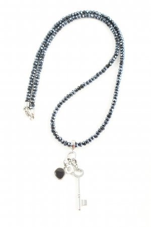 Fossil Halskette schwarz-silberfarben Elegant