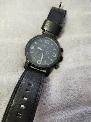 Fossil Reloj con pulsera de cuero negro